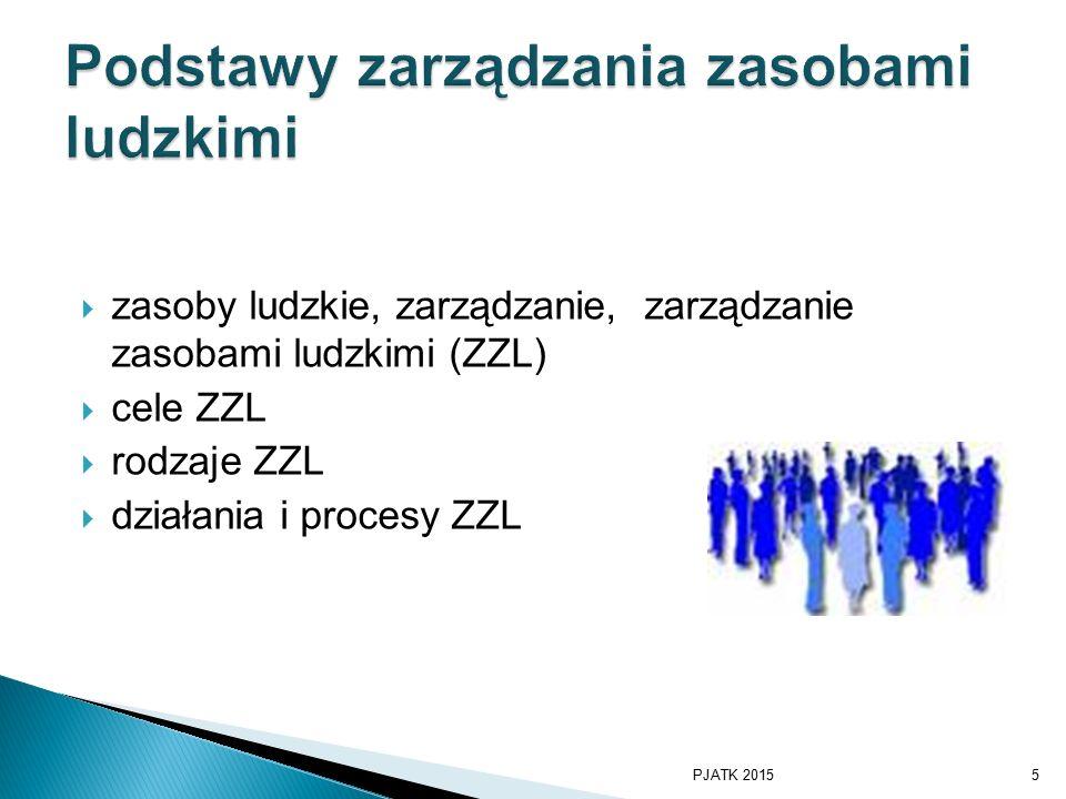  zasoby ludzkie, zarządzanie, zarządzanie zasobami ludzkimi (ZZL)  cele ZZL  rodzaje ZZL  działania i procesy ZZL PJATK 20155