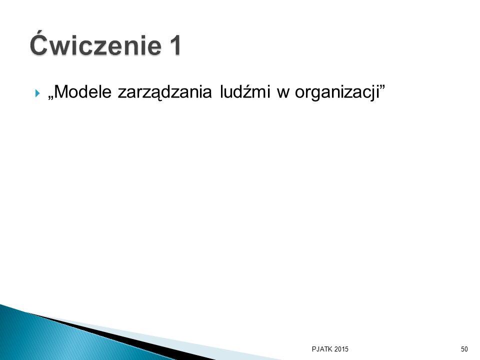 """ """"Modele zarządzania ludźmi w organizacji PJATK 201550"""