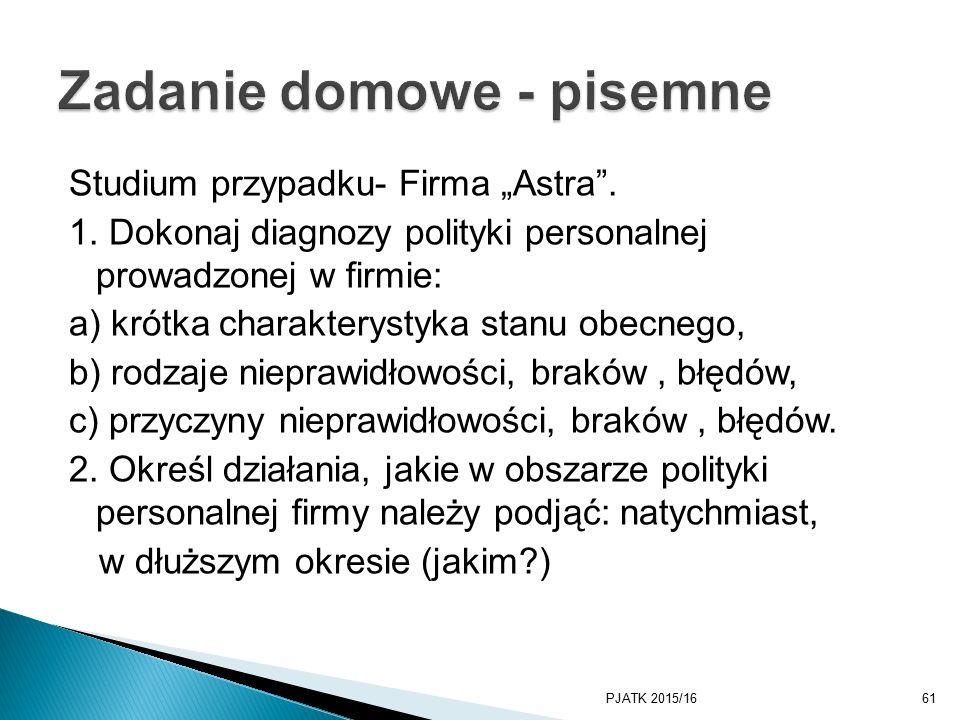 """Studium przypadku- Firma """"Astra . 1."""