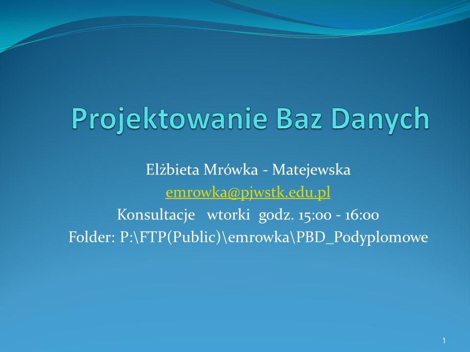 Elżbieta Mrówka - Matejewska emrowka@pjwstk.edu.pl Konsultacje wtorki godz. 15:00 - 16:00 Folder: P:\FTP(Public)\emrowka\PBD_Podyplomowe 1