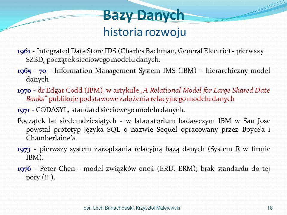 Bazy Danych historia rozwoju 1961 - Integrated Data Store IDS (Charles Bachman, General Electric) - pierwszy SZBD, początek sieciowego modelu danych.