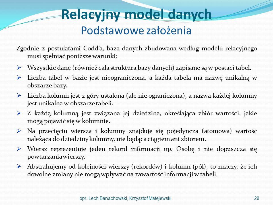 Relacyjny model danych Podstawowe założenia Zgodnie z postulatami Codd'a, baza danych zbudowana według modelu relacyjnego musi spełniać poniższe warun