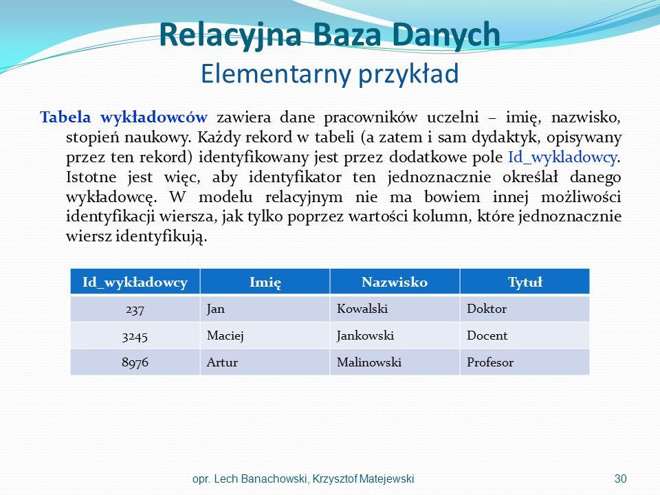 Relacyjna Baza Danych Elementarny przykład Tabela wykładowców zawiera dane pracowników uczelni – imię, nazwisko, stopień naukowy. Każdy rekord w tabel