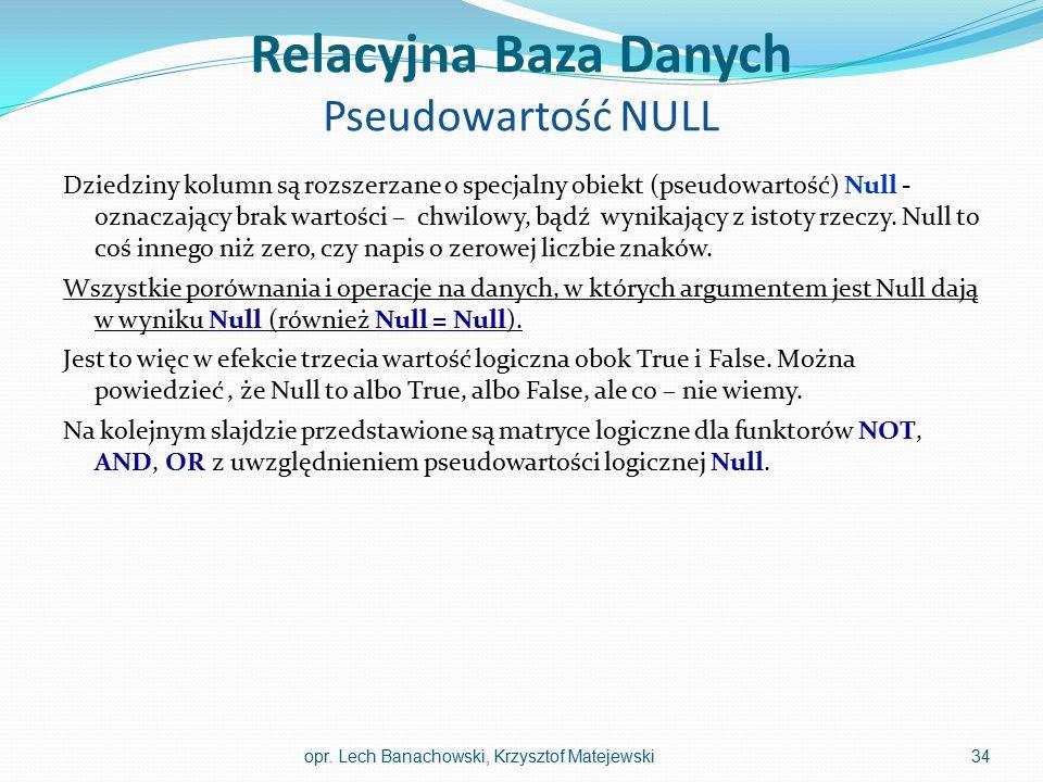 Relacyjna Baza Danych Pseudowartość NULL Dziedziny kolumn są rozszerzane o specjalny obiekt (pseudowartość) Null - oznaczający brak wartości – chwilow