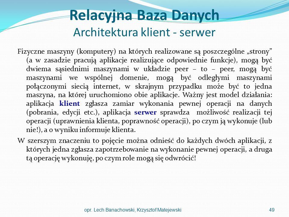 """Relacyjna Baza Danych Architektura klient - serwer Fizyczne maszyny (komputery) na których realizowane są poszczególne """"strony"""" (a w zasadzie pracują"""