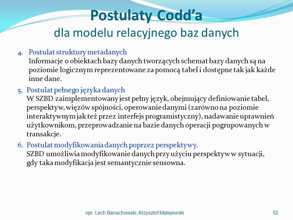 Postulaty Codd'a dla modelu relacyjnego baz danych 4. Postulat struktury metadanych Informacje o obiektach bazy danych tworzących schemat bazy danych