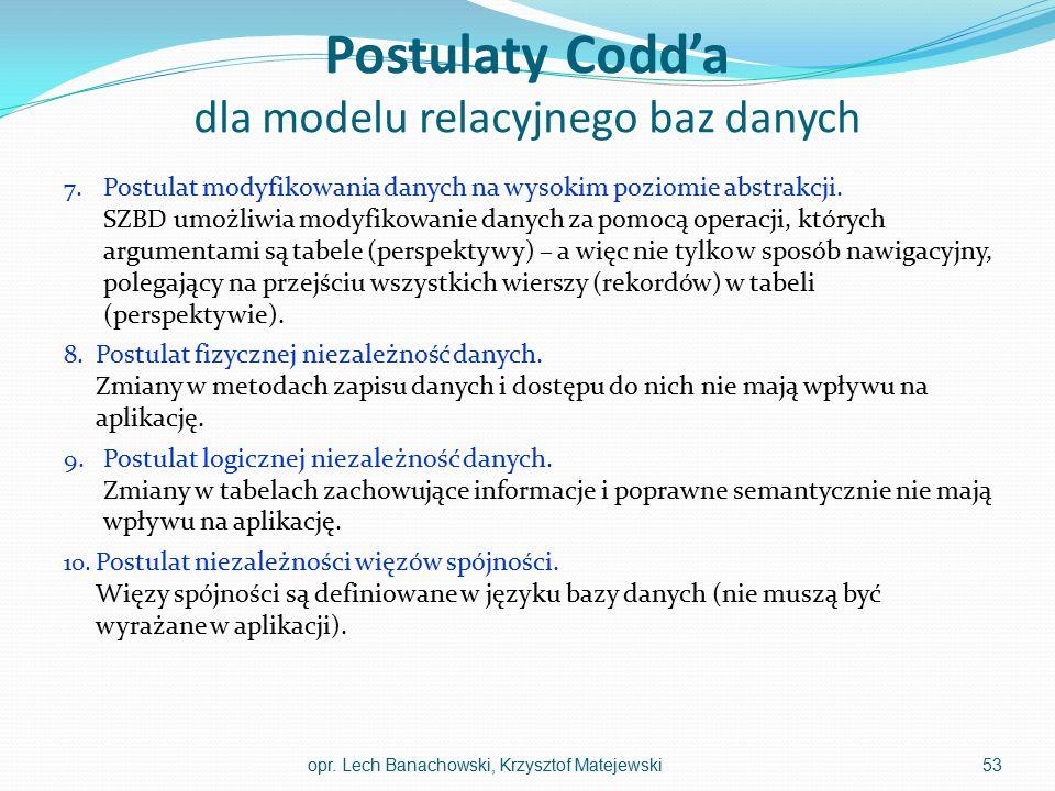 Postulaty Codd'a dla modelu relacyjnego baz danych 7. Postulat modyfikowania danych na wysokim poziomie abstrakcji. SZBD umożliwia modyfikowanie danyc