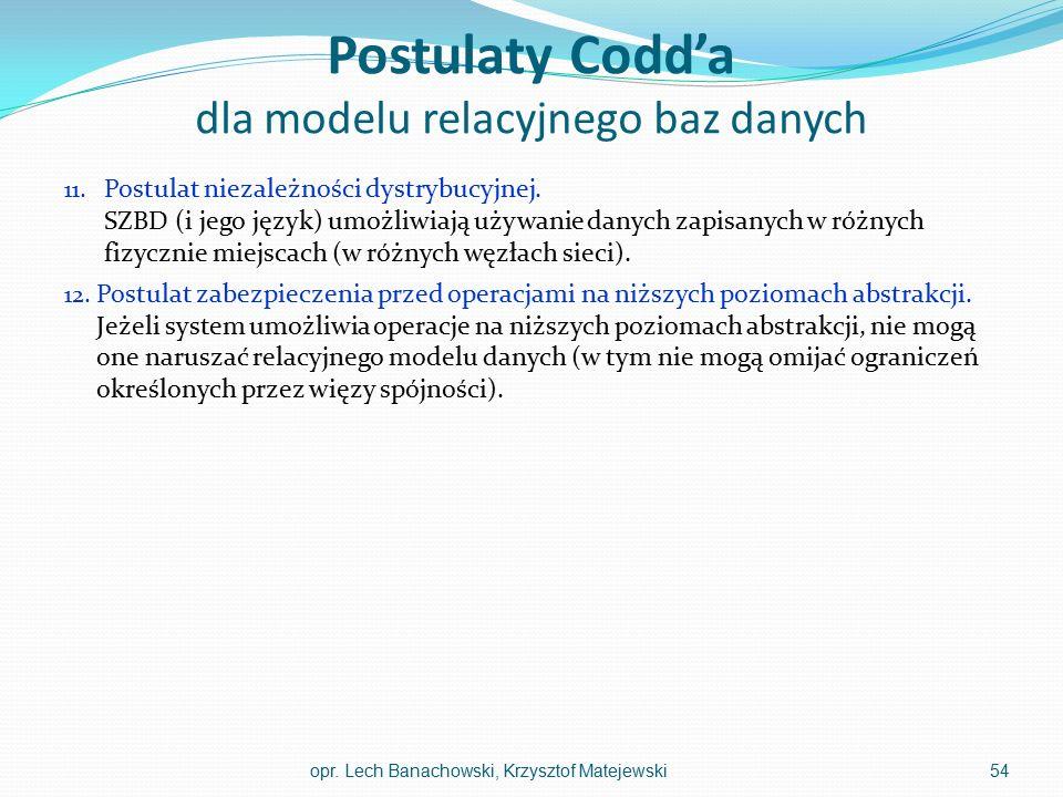 Postulaty Codd'a dla modelu relacyjnego baz danych 11. Postulat niezależności dystrybucyjnej. SZBD (i jego język) umożliwiają używanie danych zapisany
