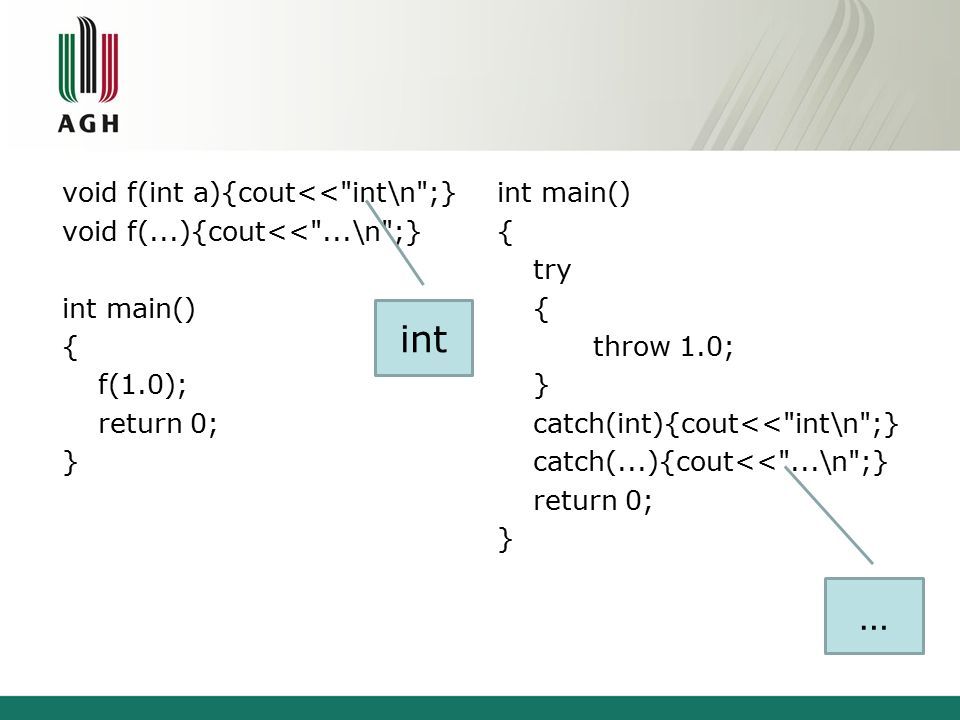 void f(int a){cout<< int\n ;} void f(...){cout<< ...\n ;} int main() { f(1.0); return 0; } int main() { try { throw 1.0; } catch(int){cout<< int\n ;} catch(...){cout<< ...\n ;} return 0; } int …