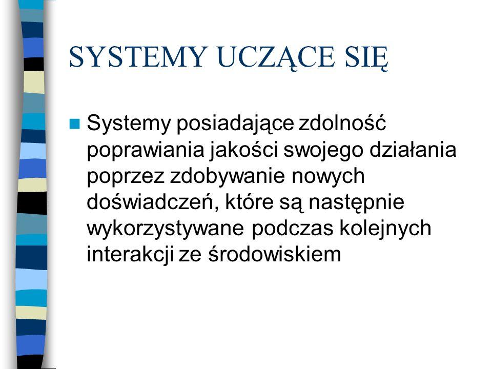 SYSTEMY UCZĄCE SIĘ Systemy posiadające zdolność poprawiania jakości swojego działania poprzez zdobywanie nowych doświadczeń, które są następnie wykorzystywane podczas kolejnych interakcji ze środowiskiem