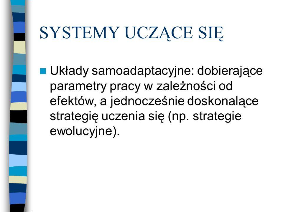 SYSTEMY UCZĄCE SIĘ Układy samoadaptacyjne: dobierające parametry pracy w zależności od efektów, a jednocześnie doskonalące strategię uczenia się (np.