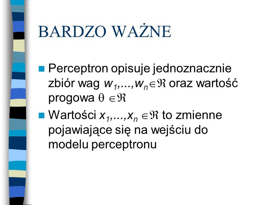 BARDZO WAŻNE Perceptron opisuje jednoznacznie zbiór wag w 1,...,w n  oraz wartość progowa   Wartości x 1,...,x n  to zmienne pojawiające się na wejściu do modelu perceptronu