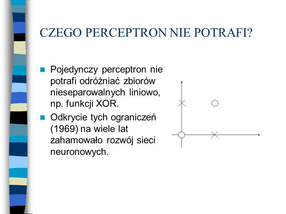 CZEGO PERCEPTRON NIE POTRAFI? Pojedynczy perceptron nie potrafi odróżniać zbiorów nieseparowalnych liniowo, np. funkcji XOR. Odkrycie tych ograniczeń