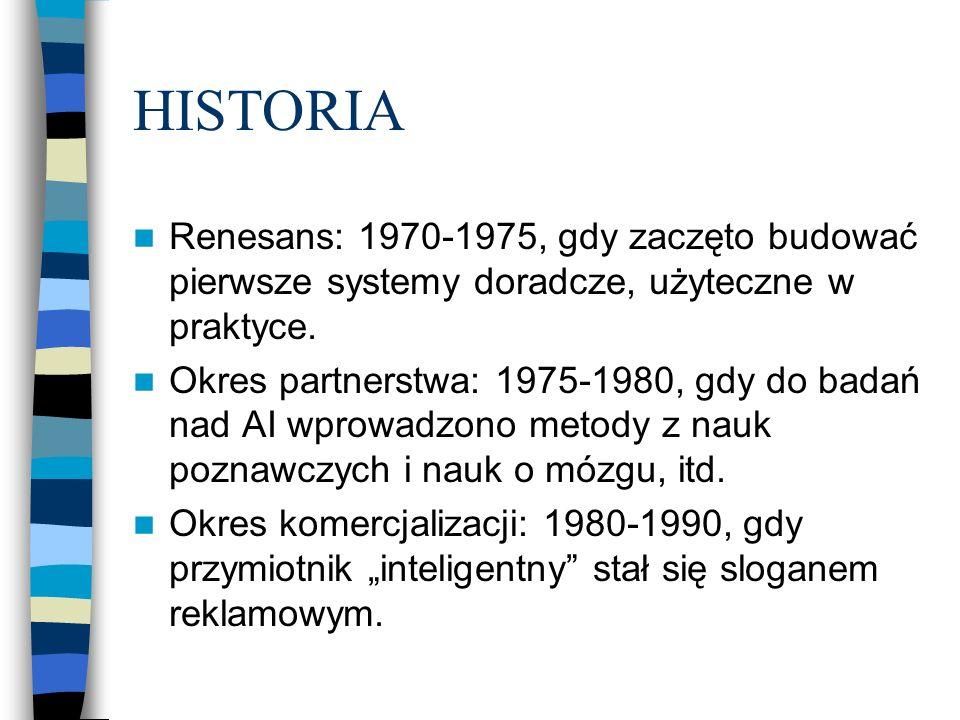 HISTORIA Renesans: 1970-1975, gdy zaczęto budować pierwsze systemy doradcze, użyteczne w praktyce. Okres partnerstwa: 1975-1980, gdy do badań nad AI w