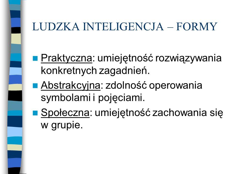 LUDZKA INTELIGENCJA – FORMY Praktyczna: umiejętność rozwiązywania konkretnych zagadnień. Abstrakcyjna: zdolność operowania symbolami i pojęciami. Społ