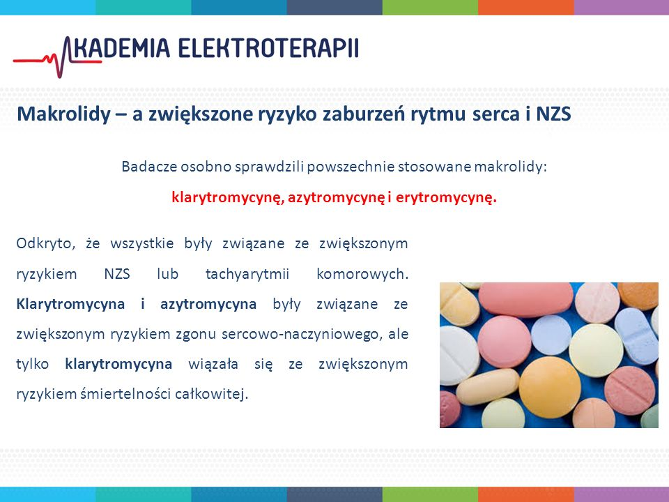 Badacze osobno sprawdzili powszechnie stosowane makrolidy: klarytromycynę, azytromycynę i erytromycynę.