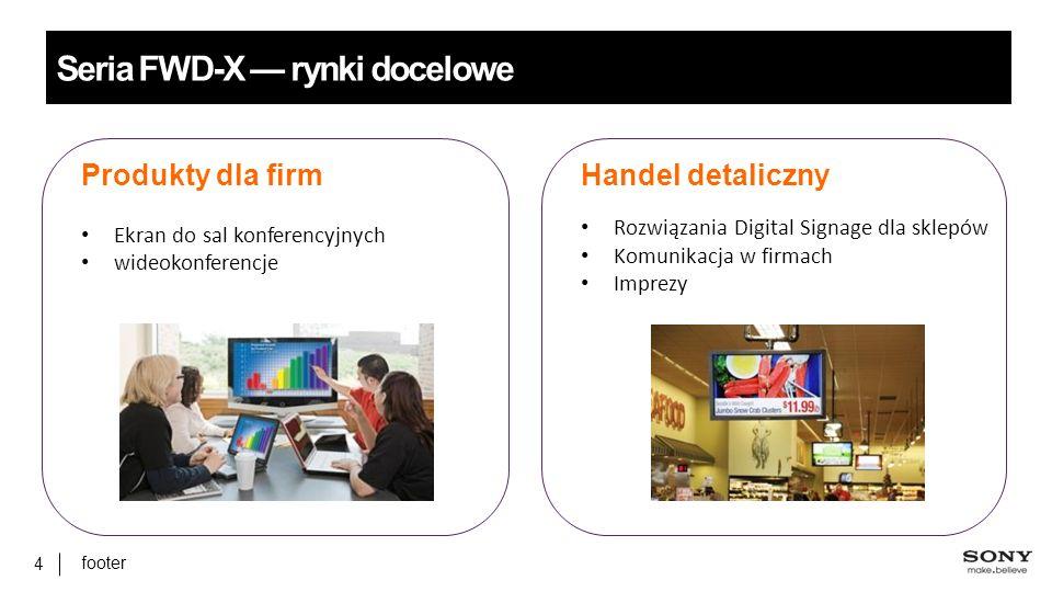 footer 4 Seria FWD-X — rynki docelowe Handel detaliczny Rozwiązania Digital Signage dla sklepów Komunikacja w firmach Imprezy Produkty dla firm Ekran do sal konferencyjnych wideokonferencje