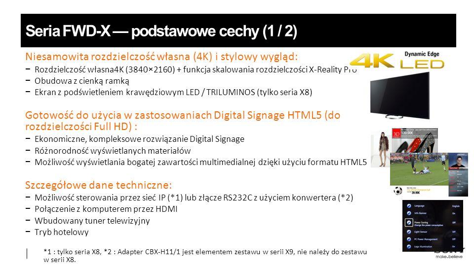 Niesamowita rozdzielczość własna (4K) i stylowy wygląd: −Rozdzielczość własna4K (3840×2160) + funkcja skalowania rozdzielczości X-Reality Pro − Obudowa z cienką ramką − Ekran z podświetleniem krawędziowym LED / TRILUMINOS (tylko seria X8) Gotowość do użycia w zastosowaniach Digital Signage HTML5 (do rozdzielczości Full HD) : − Ekonomiczne, kompleksowe rozwiązanie Digital Signage − Różnorodność wyświetlanych materiałów − Możliwość wyświetlania bogatej zawartości multimedialnej dzięki użyciu formatu HTML5 Szczegółowe dane techniczne: − Możliwość sterowania przez sieć IP (*1) lub złącze RS232C z użyciem konwertera (*2) − Połączenie z komputerem przez HDMI − Wbudowany tuner telewizyjny − Tryb hotelowy *1 : tylko seria X8, *2 : Adapter CBX-H11/1 jest elementem zestawu w serii X9, nie należy do zestawu w serii X8.