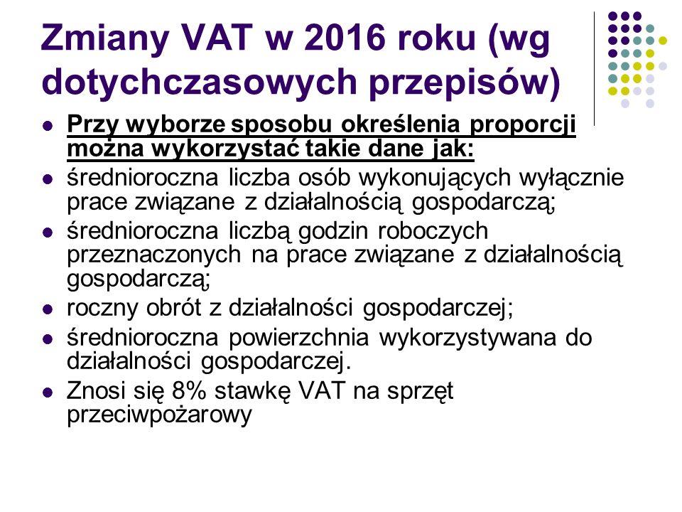 Zmiany VAT w 2016 roku (wg dotychczasowych przepisów) Przy wyborze sposobu określenia proporcji można wykorzystać takie dane jak: średnioroczna liczba osób wykonujących wyłącznie prace związane z działalnością gospodarczą; średnioroczna liczbą godzin roboczych przeznaczonych na prace związane z działalnością gospodarczą; roczny obrót z działalności gospodarczej; średnioroczna powierzchnia wykorzystywana do działalności gospodarczej.