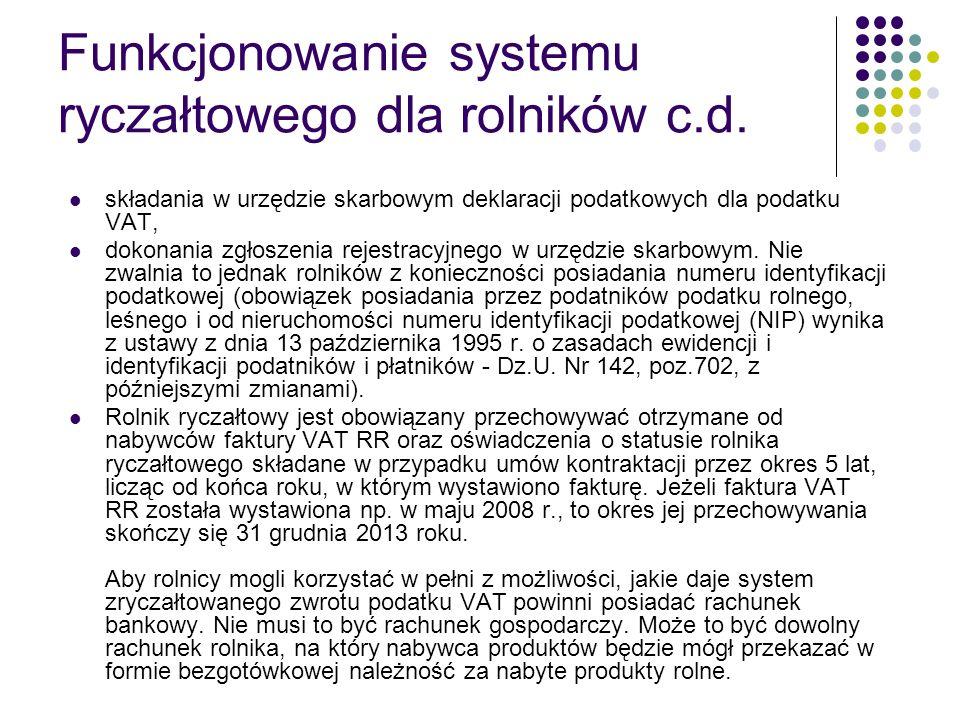 Funkcjonowanie systemu ryczałtowego dla rolników c.d.