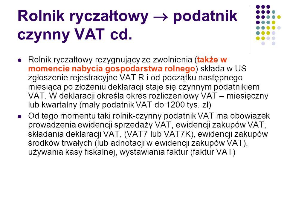 Rolnik ryczałtowy  podatnik czynny VAT cd. Rolnik ryczałtowy rezygnujący ze zwolnienia (także w momencie nabycia gospodarstwa rolnego) składa w US zg