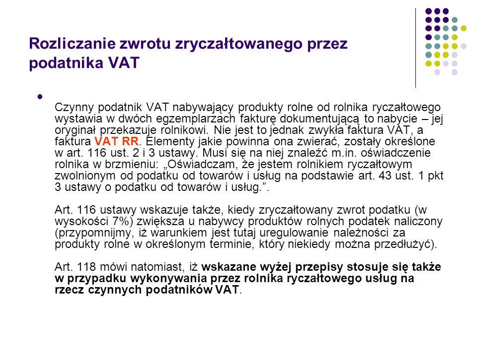 Rozliczanie zwrotu zryczałtowanego przez podatnika VAT Czynny podatnik VAT nabywający produkty rolne od rolnika ryczałtowego wystawia w dwóch egzempla