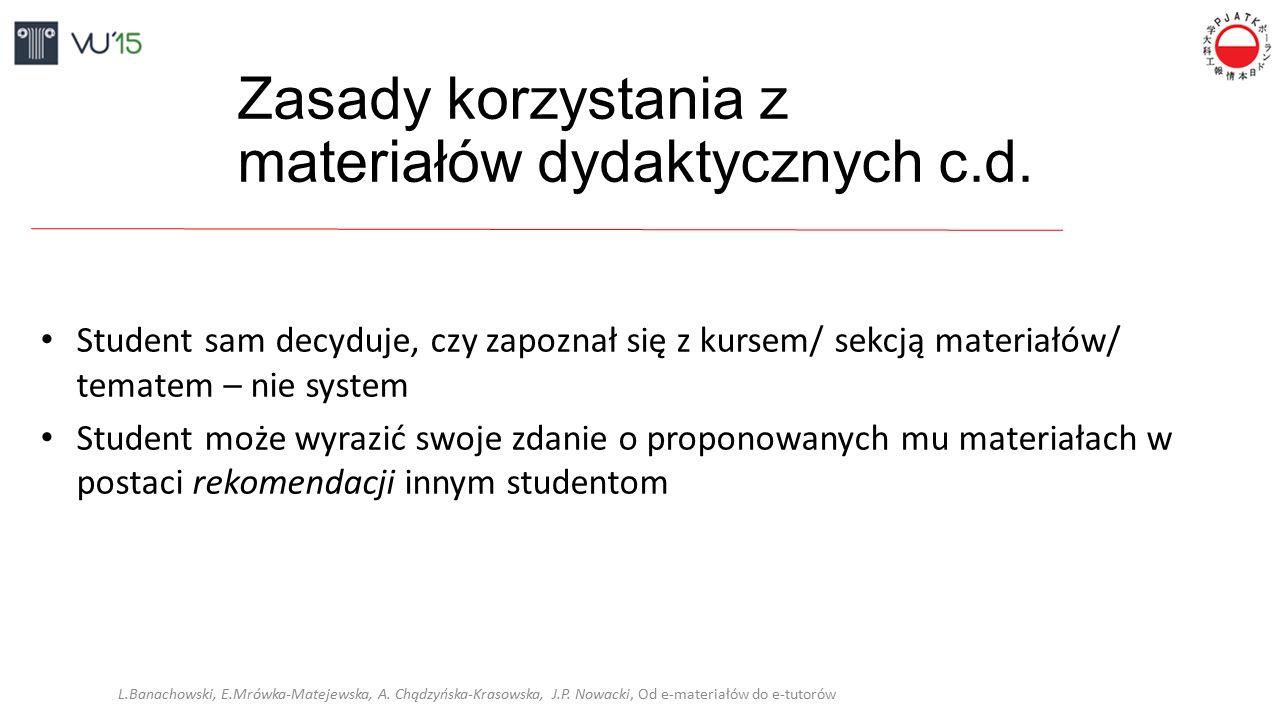 Zasady korzystania z materiałów dydaktycznych c.d. Student sam decyduje, czy zapoznał się z kursem/ sekcją materiałów/ tematem – nie system Student mo