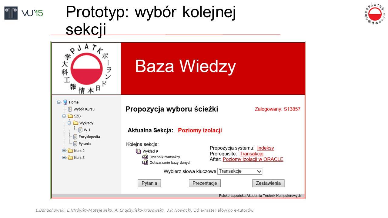 Prototyp: wybór kolejnej sekcji L.Banachowski, E.Mrówka-Matejewska, A. Chądzyńska-Krasowska, J.P. Nowacki, Od e-materiałów do e-tutorów