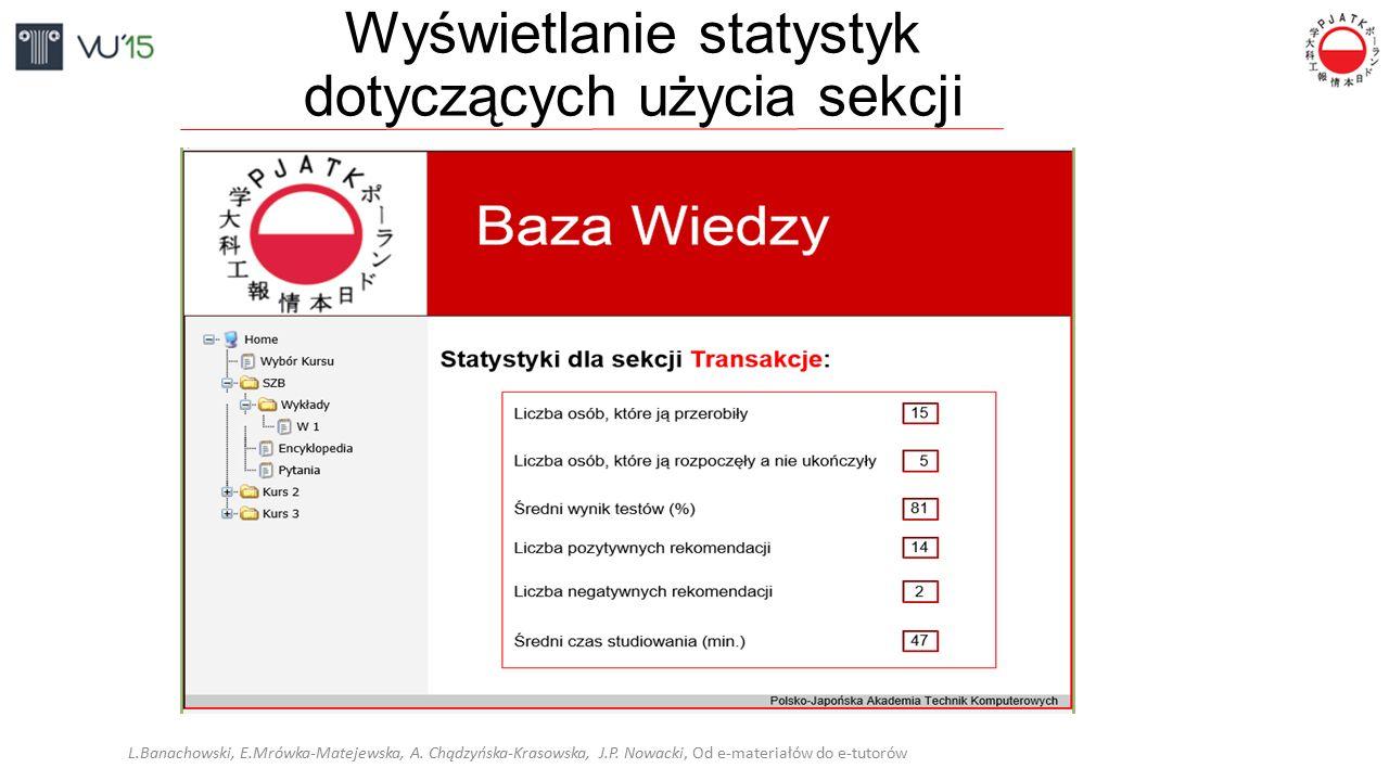 Wyświetlanie statystyk dotyczących użycia sekcji L.Banachowski, E.Mrówka-Matejewska, A. Chądzyńska-Krasowska, J.P. Nowacki, Od e-materiałów do e-tutor