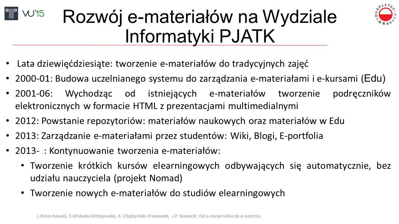 Rozwój e-materiałów na Wydziale Informatyki PJATK Lata dziewięćdziesiąte: tworzenie e-materiałów do tradycyjnych zajęć 2000-01: Budowa uczelnianego sy