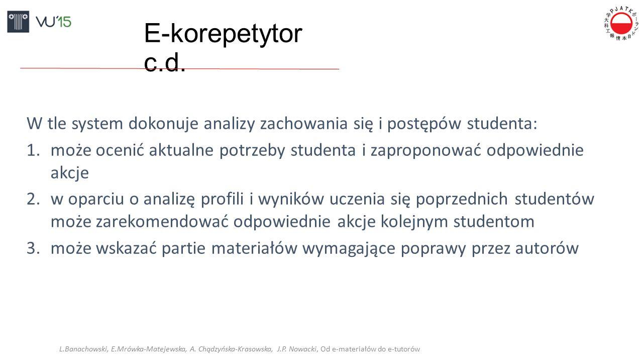 E-korepetytor c.d. W tle system dokonuje analizy zachowania się i postępów studenta: 1.może ocenić aktualne potrzeby studenta i zaproponować odpowiedn
