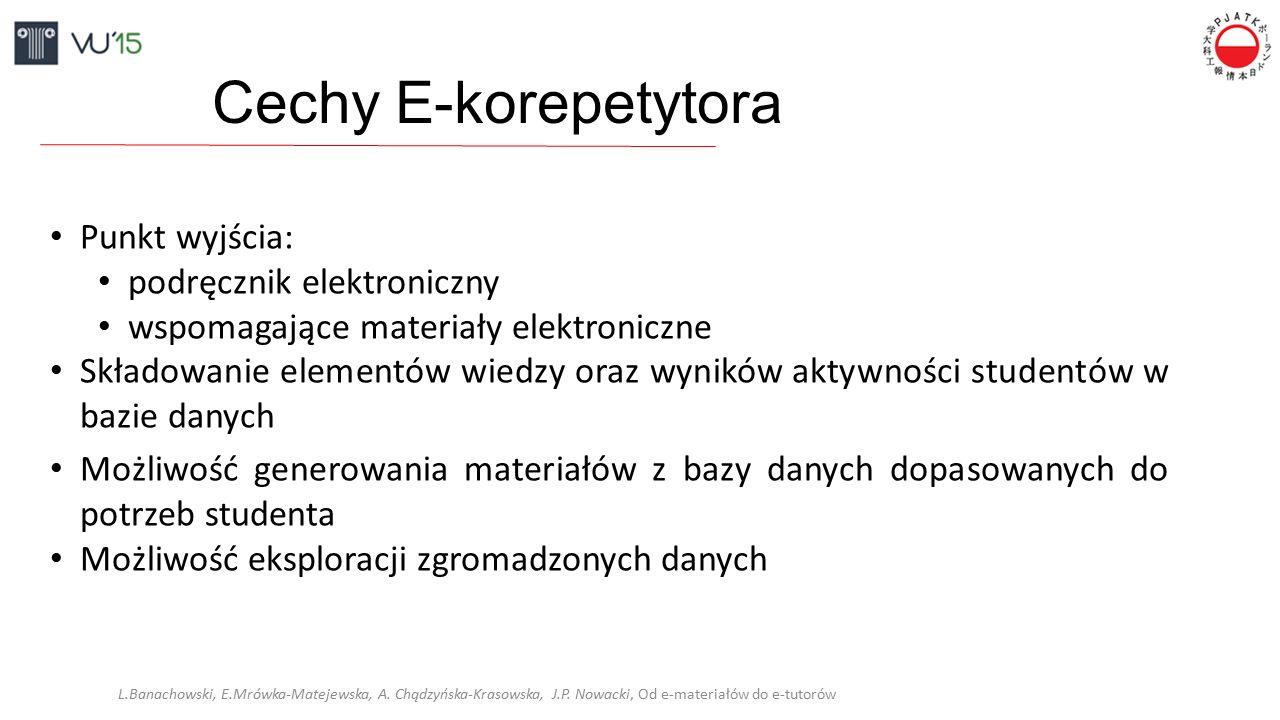 Cechy E-korepetytora Punkt wyjścia: podręcznik elektroniczny wspomagające materiały elektroniczne Składowanie elementów wiedzy oraz wyników aktywności