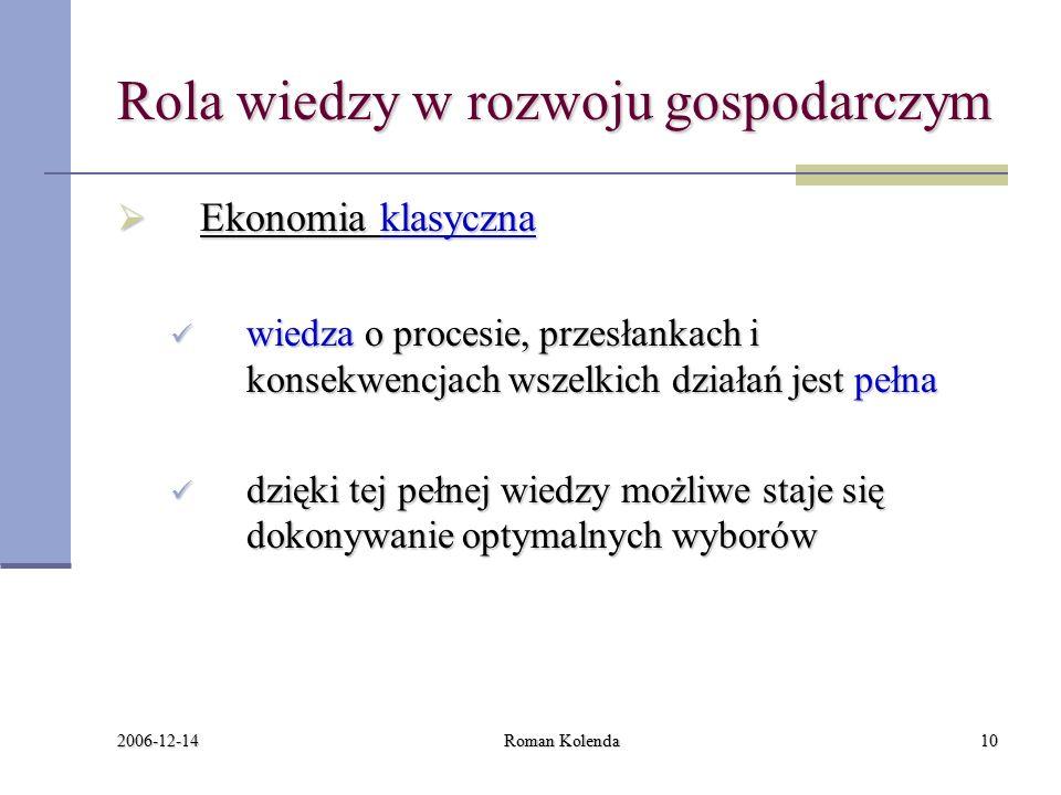 2006-12-14 Roman Kolenda10 Rola wiedzy w rozwoju gospodarczym  Ekonomia klasyczna wiedza o procesie, przesłankach i konsekwencjach wszelkich działań jest pełna wiedza o procesie, przesłankach i konsekwencjach wszelkich działań jest pełna dzięki tej pełnej wiedzy możliwe staje się dokonywanie optymalnych wyborów dzięki tej pełnej wiedzy możliwe staje się dokonywanie optymalnych wyborów