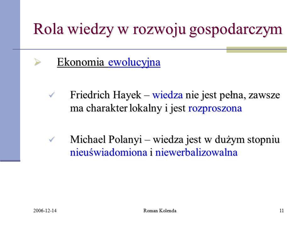 2006-12-14 Roman Kolenda11 Rola wiedzy w rozwoju gospodarczym  Ekonomia ewolucyjna Friedrich Hayek – wiedza nie jest pełna, zawsze ma charakter lokalny i jest rozproszona Friedrich Hayek – wiedza nie jest pełna, zawsze ma charakter lokalny i jest rozproszona Michael Polanyi – wiedza jest w dużym stopniu nieuświadomiona i niewerbalizowalna Michael Polanyi – wiedza jest w dużym stopniu nieuświadomiona i niewerbalizowalna