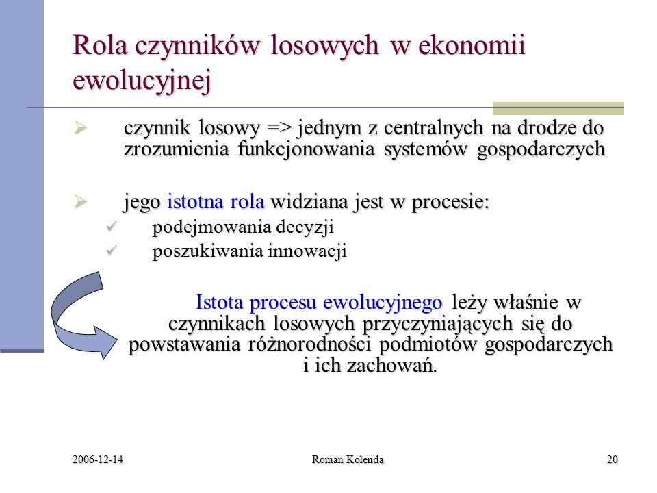 2006-12-14 Roman Kolenda20 Rola czynników losowych w ekonomii ewolucyjnej  czynnik losowy => jednym z centralnych na drodze do zrozumienia funkcjonowania systemów gospodarczych  jego istotna rola widziana jest w procesie: podejmowania decyzji podejmowania decyzji poszukiwania innowacji poszukiwania innowacji Istota procesu ewolucyjnego leży właśnie w czynnikach losowych przyczyniających się do powstawania różnorodności podmiotów gospodarczych i ich zachowań.