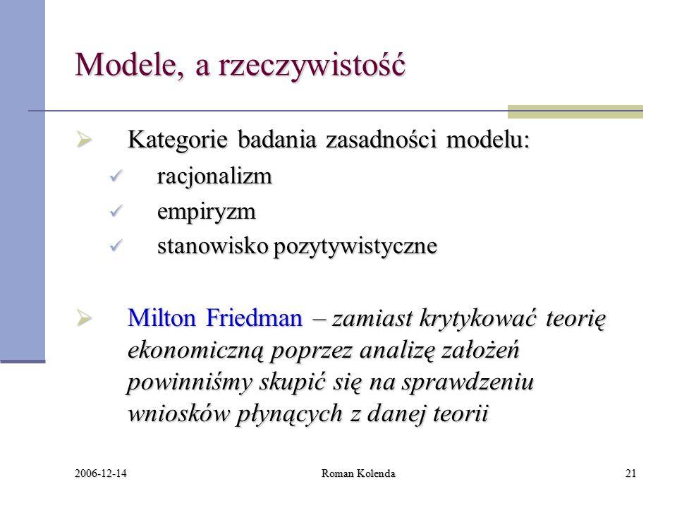 2006-12-14 Roman Kolenda21 Modele, a rzeczywistość  Kategorie badania zasadności modelu: racjonalizm racjonalizm empiryzm empiryzm stanowisko pozytywistyczne stanowisko pozytywistyczne  Milton Friedman – zamiast krytykować teorię ekonomiczną poprzez analizę założeń powinniśmy skupić się na sprawdzeniu wniosków płynących z danej teorii