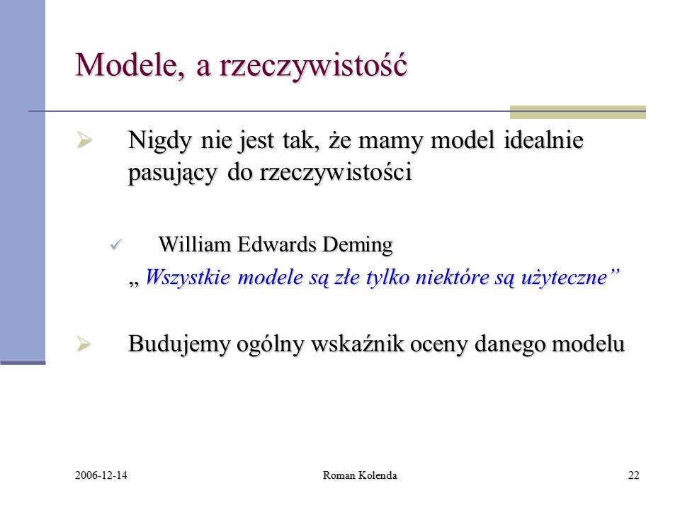 """2006-12-14 Roman Kolenda22 Modele, a rzeczywistość  Nigdy nie jest tak, że mamy model idealnie pasujący do rzeczywistości William Edwards Deming William Edwards Deming """" Wszystkie modele są złe tylko niektóre są użyteczne  Budujemy ogólny wskaźnik oceny danego modelu"""