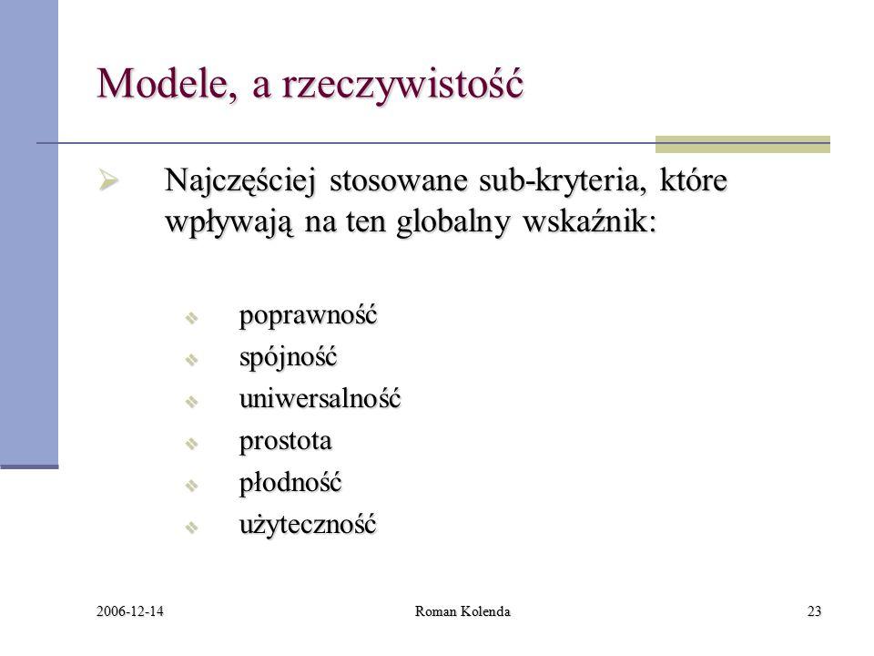 2006-12-14 Roman Kolenda23 Modele, a rzeczywistość  Najczęściej stosowane sub-kryteria, które wpływają na ten globalny wskaźnik:  poprawność  spójność  uniwersalność  prostota  płodność  użyteczność