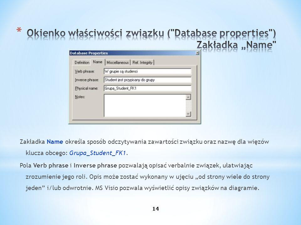 Zakładka Name określa sposób odczytywania zawartości związku oraz nazwę dla więzów klucza obcego: Grupa_Student_FK1. Pola Verb phrase i Inverse phrase
