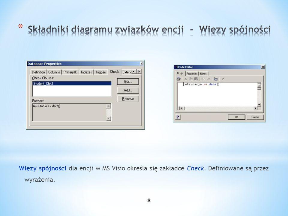 Więzy spójności dla encji w MS Visio określa się zakładce Check. Definiowane są przez wyrażenia. 8