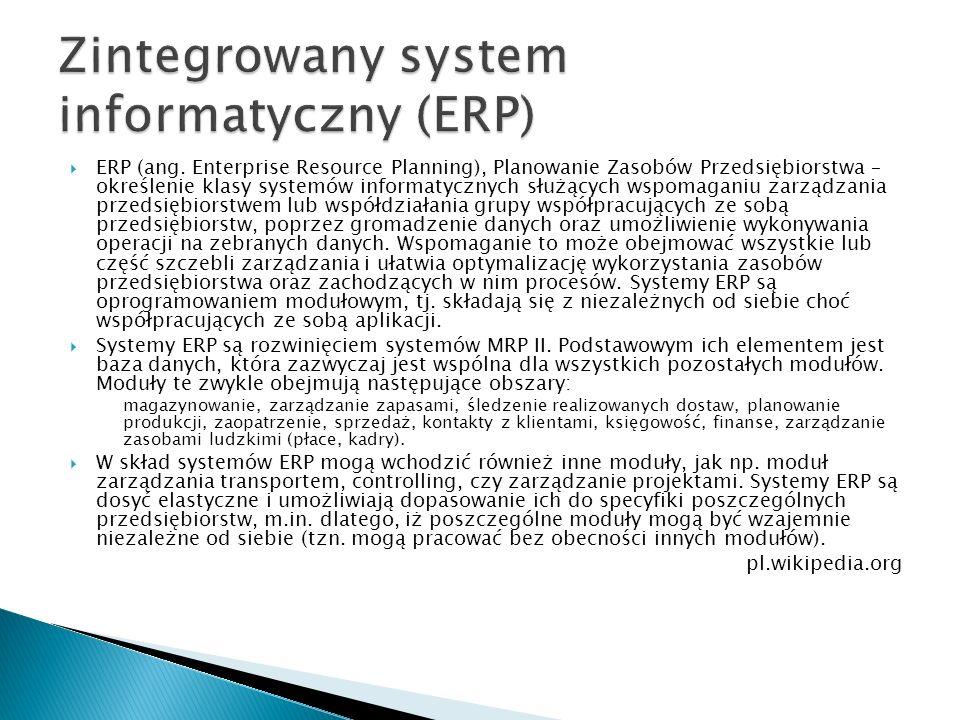  ERP (ang. Enterprise Resource Planning), Planowanie Zasobów Przedsiębiorstwa – określenie klasy systemów informatycznych służących wspomaganiu zarzą