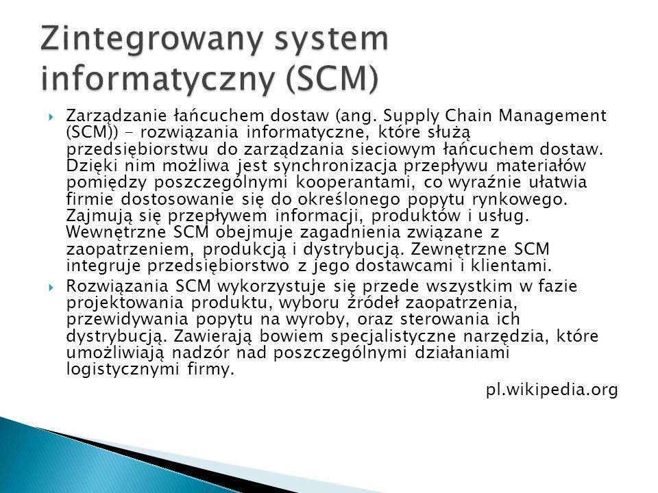  Zarządzanie łańcuchem dostaw (ang. Supply Chain Management (SCM)) - rozwiązania informatyczne, które służą przedsiębiorstwu do zarządzania sieciowym