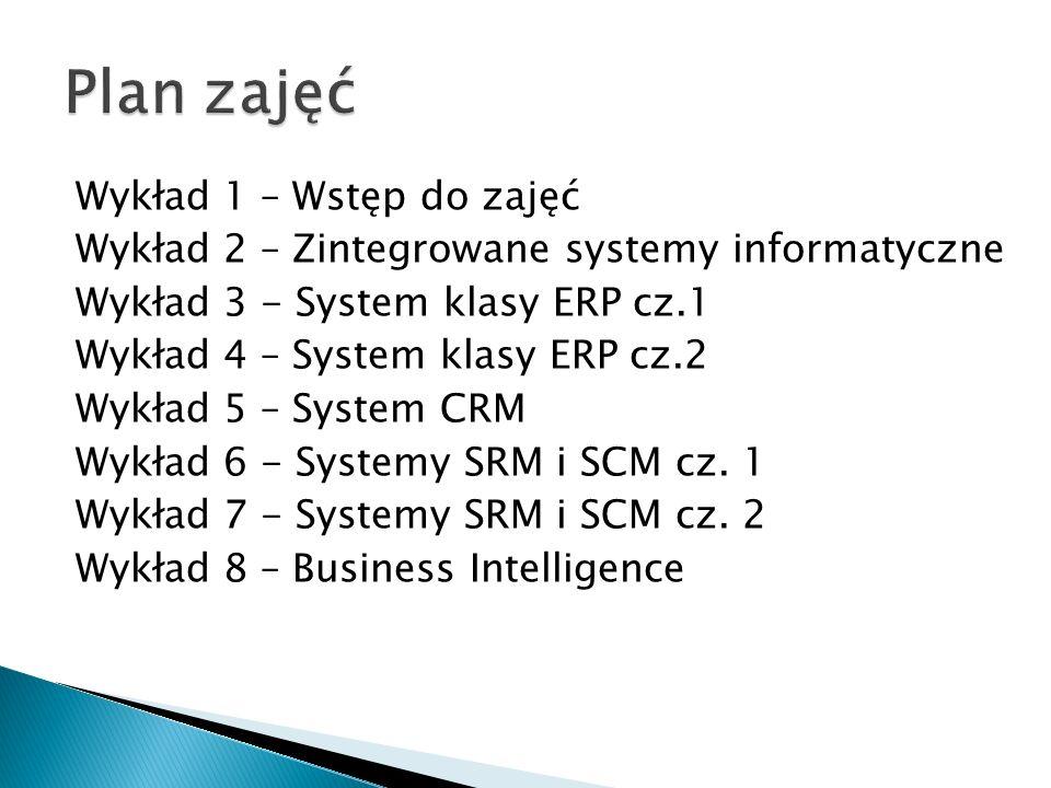 Wykład 1 – Wstęp do zajęć Wykład 2 – Zintegrowane systemy informatyczne Wykład 3 - System klasy ERP cz.1 Wykład 4 – System klasy ERP cz.2 Wykład 5 – System CRM Wykład 6 - Systemy SRM i SCM cz.