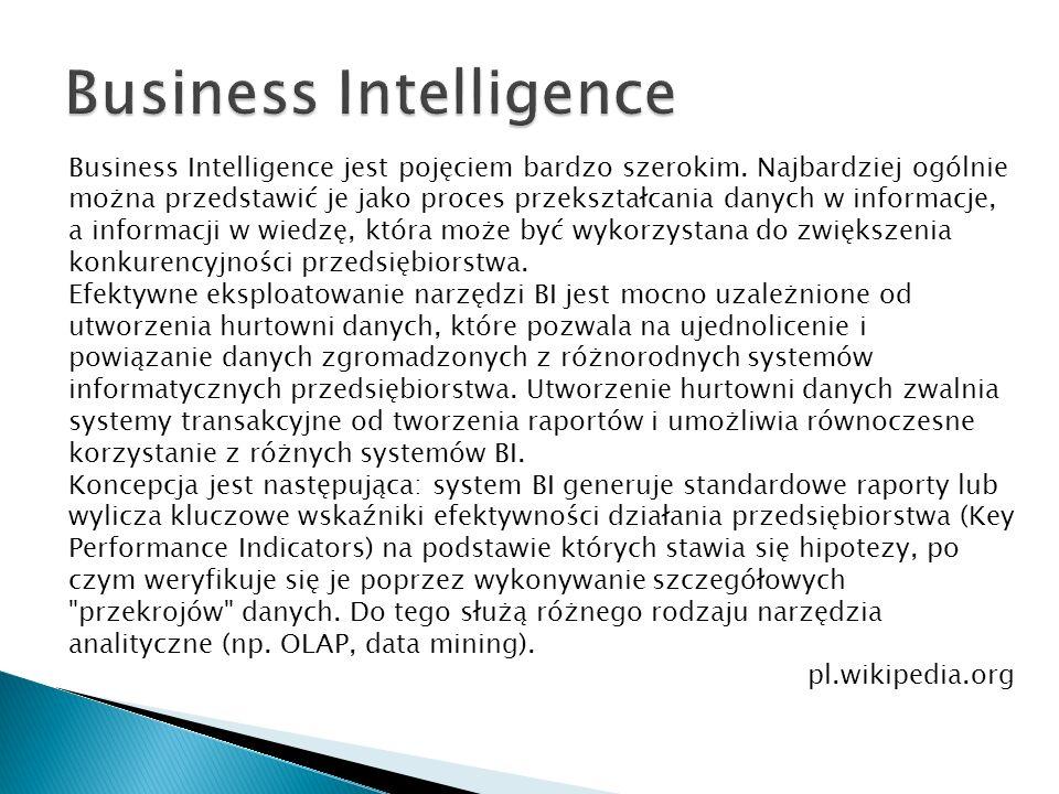Business Intelligence jest pojęciem bardzo szerokim. Najbardziej ogólnie można przedstawić je jako proces przekształcania danych w informacje, a infor