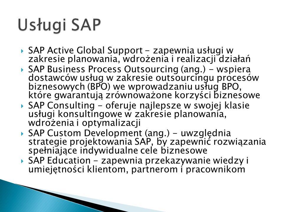  SAP Active Global Support - zapewnia usługi w zakresie planowania, wdrożenia i realizacji działań  SAP Business Process Outsourcing (ang.) - wspiera dostawców usług w zakresie outsourcingu procesów biznesowych (BPO) we wprowadzaniu usług BPO, które gwarantują zrównoważone korzyści biznesowe  SAP Consulting - oferuje najlepsze w swojej klasie usługi konsultingowe w zakresie planowania, wdrożenia i optymalizacji  SAP Custom Development (ang.) - uwzględnia strategie projektowania SAP, by zapewnić rozwiązania spełniające indywidualne cele biznesowe  SAP Education - zapewnia przekazywanie wiedzy i umiejętności klientom, partnerom i pracownikom