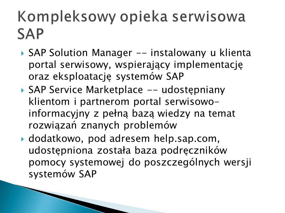  SAP Solution Manager -- instalowany u klienta portal serwisowy, wspierający implementację oraz eksploatację systemów SAP  SAP Service Marketplace -- udostępniany klientom i partnerom portal serwisowo- informacyjny z pełną bazą wiedzy na temat rozwiązań znanych problemów  dodatkowo, pod adresem help.sap.com, udostępniona została baza podręczników pomocy systemowej do poszczególnych wersji systemów SAP