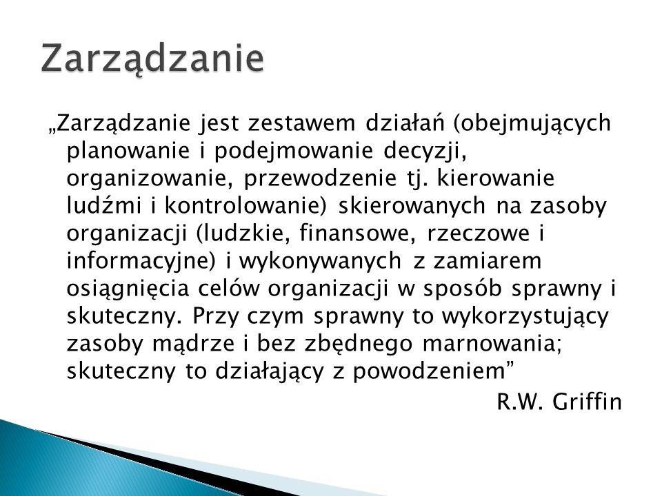 """""""Zarządzanie jest zestawem działań (obejmujących planowanie i podejmowanie decyzji, organizowanie, przewodzenie tj. kierowanie ludźmi i kontrolowanie)"""