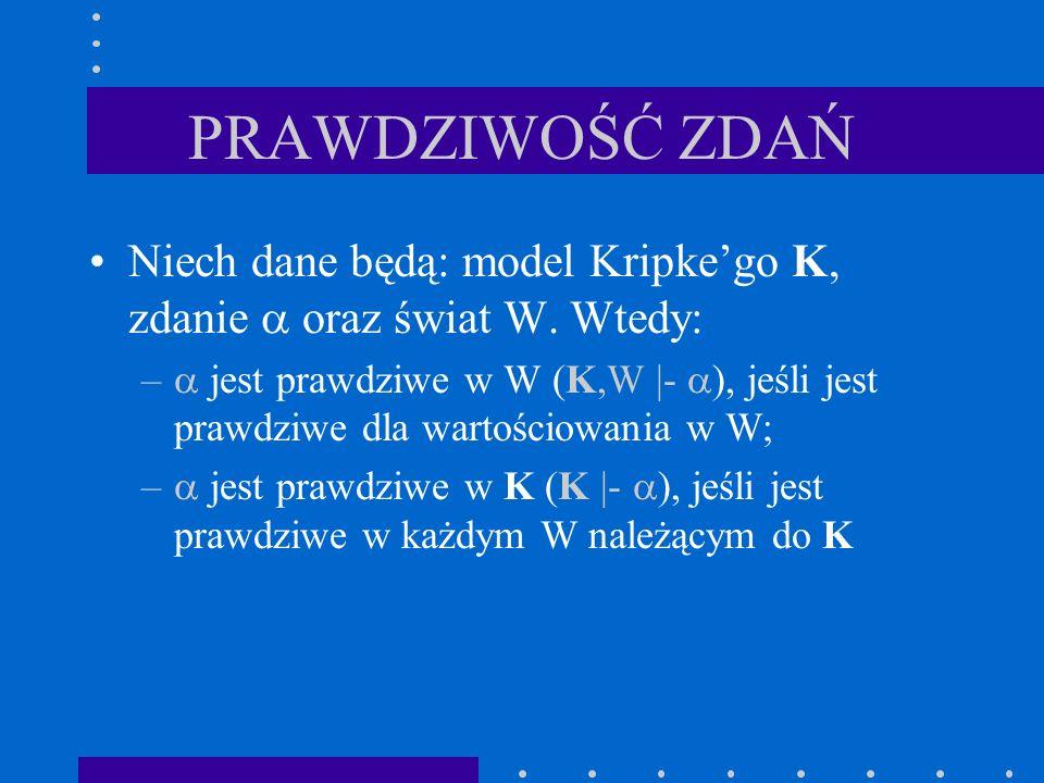 PRAWDZIWOŚĆ ZDAŃ Niech dane będą: model Kripke'go K, zdanie  oraz świat W. Wtedy: –  jest prawdziwe w W (K,W |-  ), jeśli jest prawdziwe dla wartoś