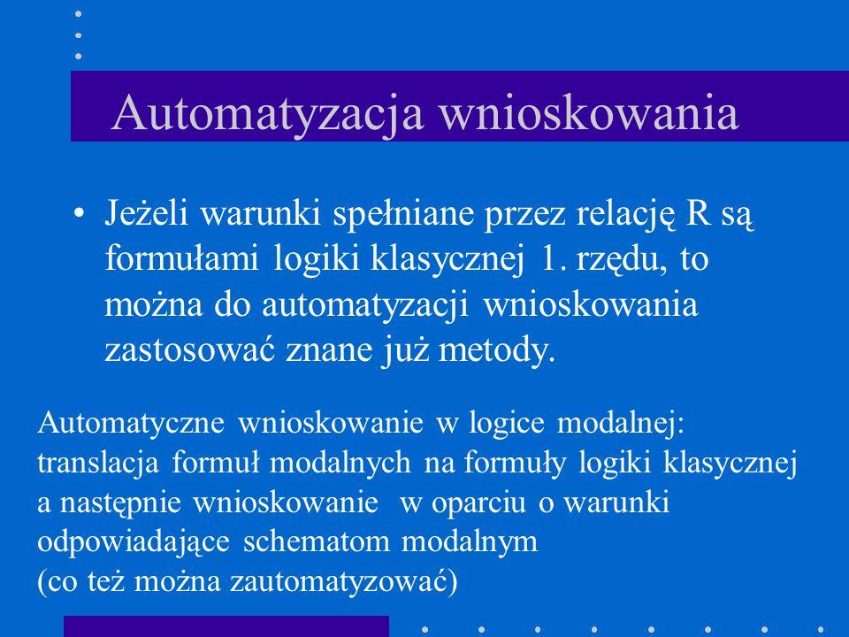 Jeżeli warunki spełniane przez relację R są formułami logiki klasycznej 1. rzędu, to można do automatyzacji wnioskowania zastosować znane już metody.