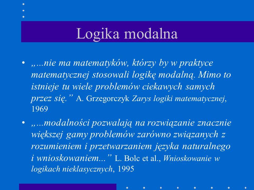 """Logika modalna """"...nie ma matematyków, którzy by w praktyce matematycznej stosowali logikę modalną. Mimo to istnieje tu wiele problemów ciekawych samy"""